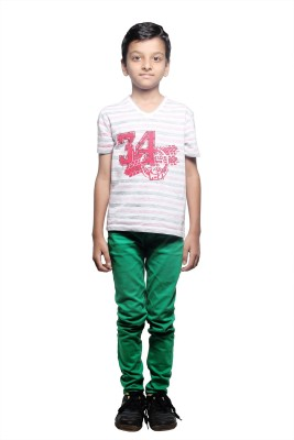 STOP by Shoppers Stop Printed Boy,s V-neck Red, White T-Shirt
