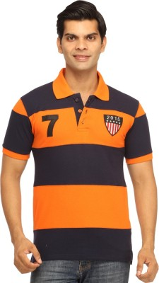 Rockhard Striped Men's Polo Neck Orange T-Shirt