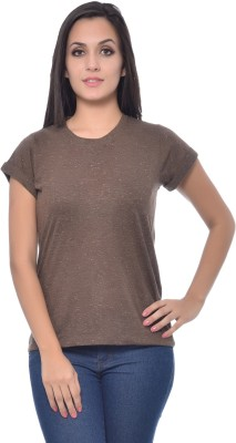 Frenchtrendz Solid Women,s Round Neck Brown T-Shirt