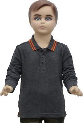 Urban Forest Solid Boy's Flap Collar Neck Grey T-Shirt