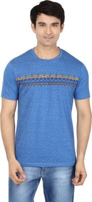 Minute Merge Printed Men's Round Neck Blue, Yellow T-Shirt