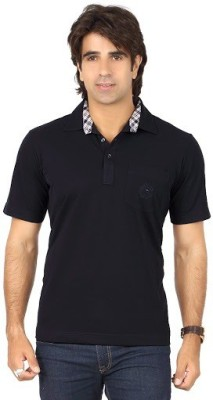 Valeta Solid Men's Polo Neck Dark Blue T-Shirt