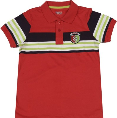 People Striped Boy's Polo White, Red, Purple T-Shirt