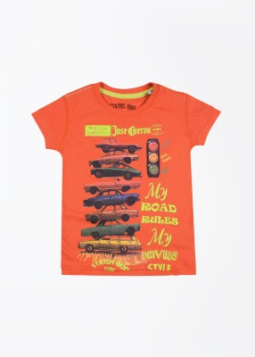 Status Quo Cubs Printed Boy's Round Neck Orange T-Shirt