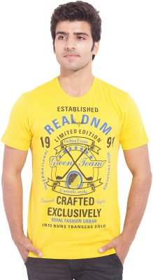 Nimbus Printed Men's Round Neck Yellow T-Shirt