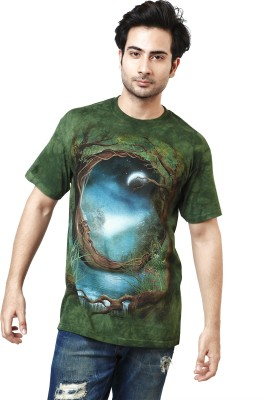 The Mountain Printed Men's Round Neck Dark Green, Blue, Brown T-Shirt