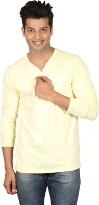Poshuis Solid Men's Henley Yellow T-Shirt