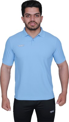 TK Solid Men's Polo Neck Light Blue T-Shirt