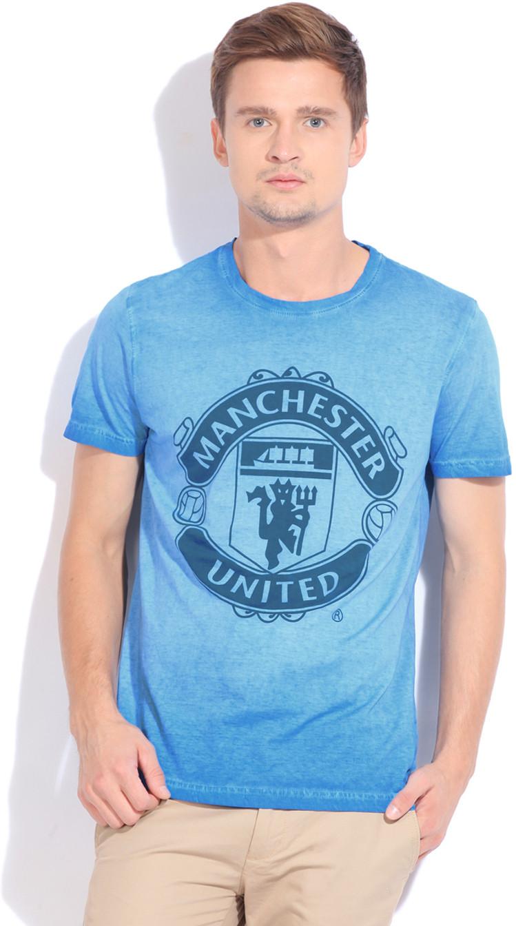 Manchester United Printed Men's Round Neck Blue T-Shirt