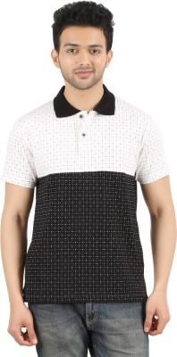 MA Printed Men's Polo Neck Black, White T-Shirt