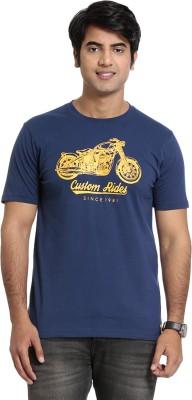 SEVEN Solid Men's Round Neck Blue T-Shirt