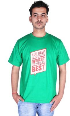 neuf Printed Men's Round Neck Green T-Shirt