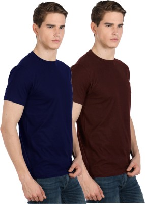 Xarans Solid Men's Round Neck Blue, Brown T-Shirt