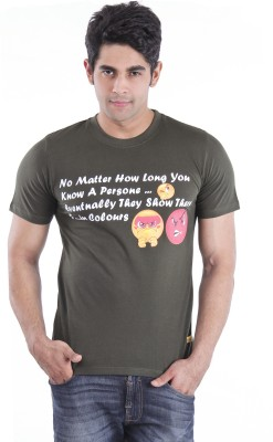Texco Printed Men,s Round Neck Green T-Shirt