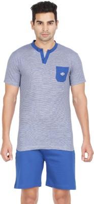 Sand Beach Striped Men's Round Neck Blue T-Shirt