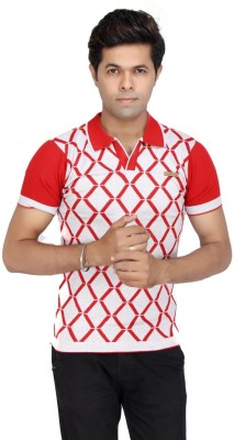 JG FORCEMAN Printed Men's Polo Red T-Shirt