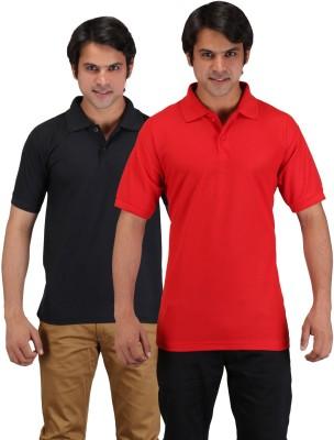 Aqua Solid Men's Polo Neck Red, Black T-Shirt