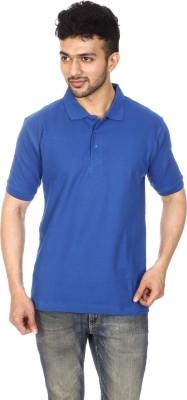 Lyril Solid Men's Polo Neck Blue T-Shirt
