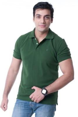 WallWest Solid Men's Polo Neck Dark Green T-Shirt