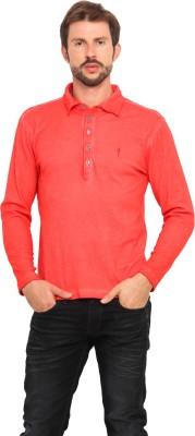 Smokestack Solid Men's Polo Neck Orange T-Shirt