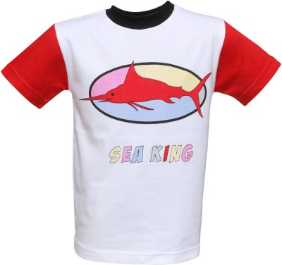 Sungleam Printed Boy's Round Neck White T-Shirt