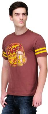 White Kalia Graphic Print Men,s Round Neck Brown T-Shirt