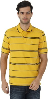 Fahrenheit Striped Men's Polo Neck Yellow, Dark Blue T-Shirt
