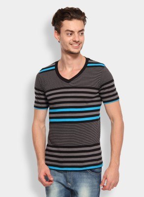 Calix Striped Men's V-neck Grey, Light Blue T-Shirt