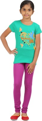 Rham Gold Solid Girl's Round Neck Light Green T-Shirt