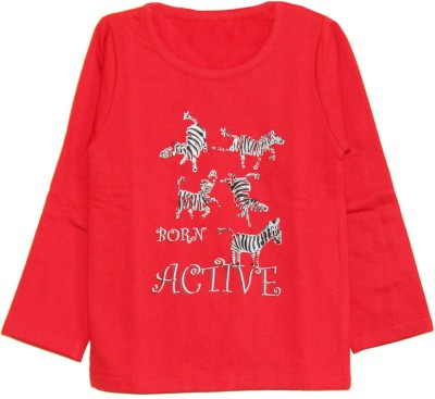 My Little Lambs Solid Boy's Round Neck Red T-Shirt