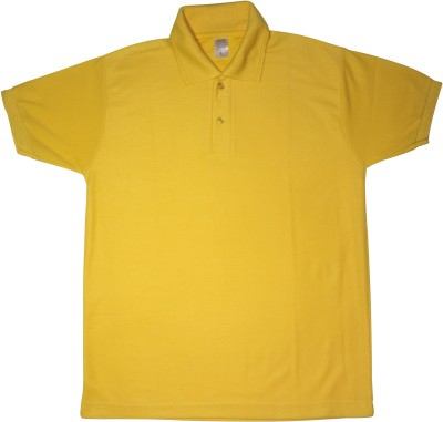 Bainsons Solid Men's Polo Yellow T-Shirt