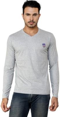 Free Spirit Solid Men's V-neck Grey T-Shirt