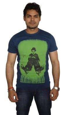 Burnout Printed Men's Round Neck Dark Blue T-Shirt