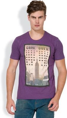 Locomotive Printed Men's Round Neck Purple T-Shirt