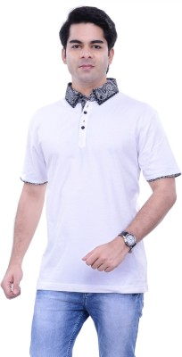 Alpha Centauri Solid Men's Flap Collar Neck Grey T-Shirt
