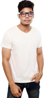 Viral Lifestyle Solid Men's V-neck White T-Shirt