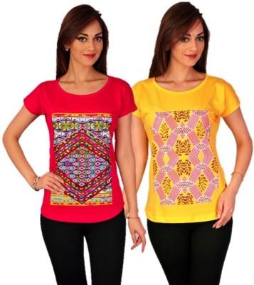 Go-Art Printed Women,s Round Neck Multicolor T-Shirt