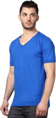 Inkovy Solid Men's V-neck Blue T-Shirt