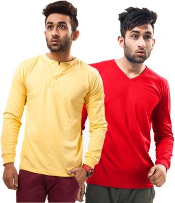 Unisopent Designs Solid Men's Henley, V-neck Yellow, Red T-Shirt