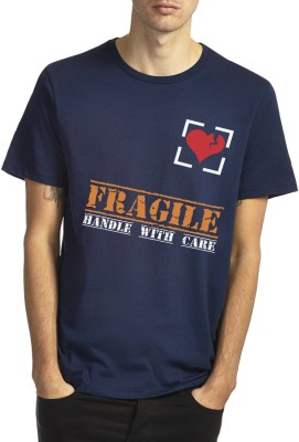 Witty Vogue Graphic Print Men's Round Neck Blue T-Shirt