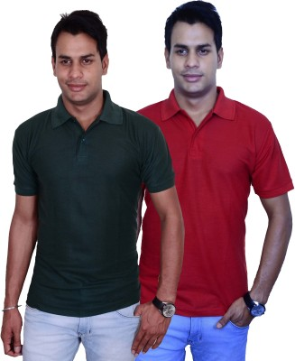 Blaze Solid Men's Polo Green, Maroon T-Shirt
