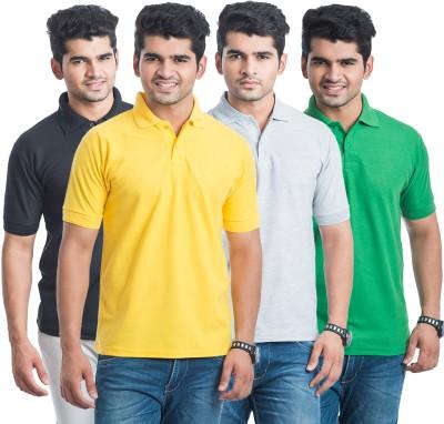 Eprilla Solid Men,s Polo Neck Black, Light Green, Yellow, Grey T-Shirt