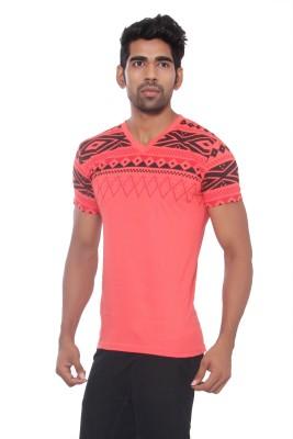 Pezzava Self Design Men's V-neck Reversible Pink, Black T-Shirt