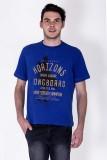 Sera Printed Men's Round Neck Blue T-Shi...