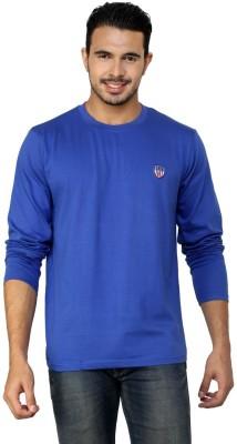 Free Spirit Solid Men's Round Neck Blue T-Shirt