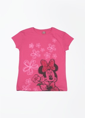 Cherish Printed Girl,s Round Neck Pink T-Shirt