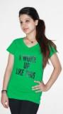 Xarans Solid Women's V-neck Green T-Shir...