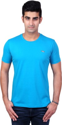 Bridge Solid Men's Round Neck Light Blue T-Shirt