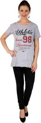 Ventyn Graphic Print Women's Round Neck Grey T-Shirt