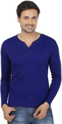 Fashcom Solid Men's Henley Blue T-Shirt
